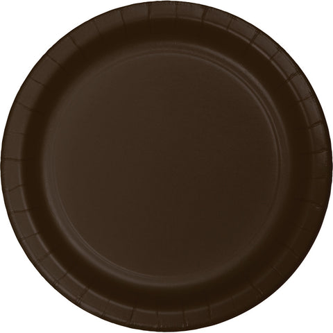 "Brown Bulk Party Paper Lunch Plates 7"" (240/Case)-Solid Color Party Tableware-Creative Converting-240-"