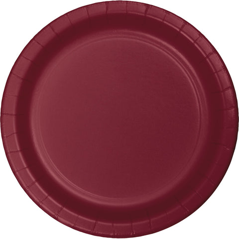 "Burgundy Bulk Party Paper Lunch Plates 7"" (240/Case)"