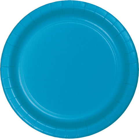 "Turquoise Bulk Party Paper Lunch Plates 7"" (240/Case)-Solid Color Party Tableware-Creative Converting-240-"