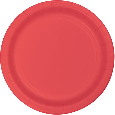 "Coral Bulk Party Paper Lunch Plates 7"" (240/Case)-Solid Color Party Tableware-Creative Converting-240-"