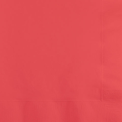 Coral Bulk Party 2 Ply Beverage Napkins (600/Case)-Solid Color Party Tableware-Creative Converting-600-