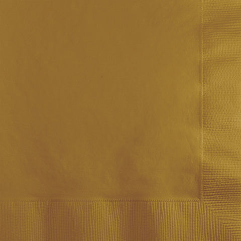 Gold Bulk Party 2 Ply Beverage Napkins (600/Case)-Solid Color Party Tableware-Creative Converting-600-
