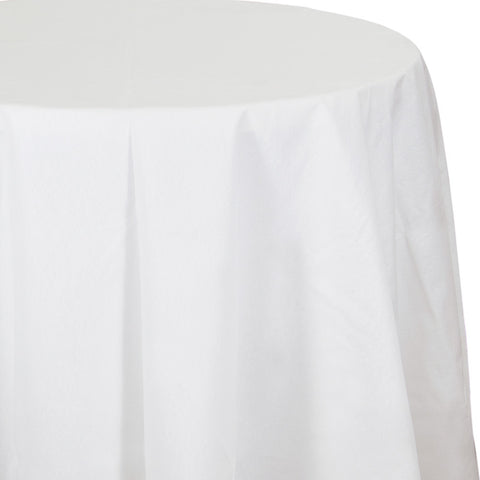 "White Disposable Catering Octy-Round 82"" Tablecloths"
