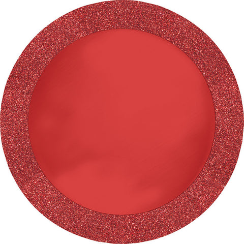 "Red Glitter Bulk Party Placemats, 14"" Glitter Border"