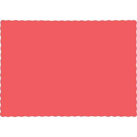 Coral Bulk Party Paper Placemats (600/Case)-Solid Color Party Tableware-Creative Converting-600-