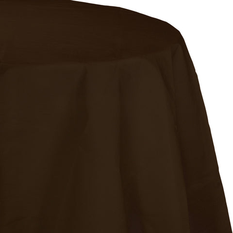 "Brown Bulk Party Round Paper Tablecovers 82"" (12/Case)"