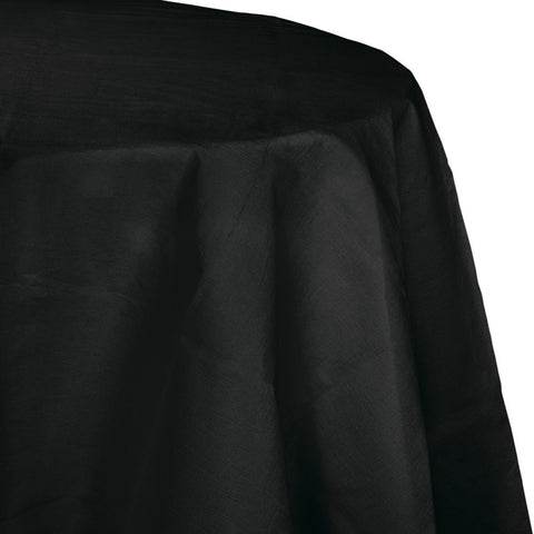 "Black Bulk Party Round Paper Tablecovers 82"" (12/Case)"