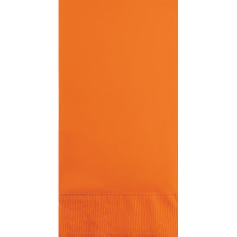 Orange Bulk Party 3 Ply Guest Towel Napkins (192/Case)-Solid Color Party Tableware-Creative Converting-192-