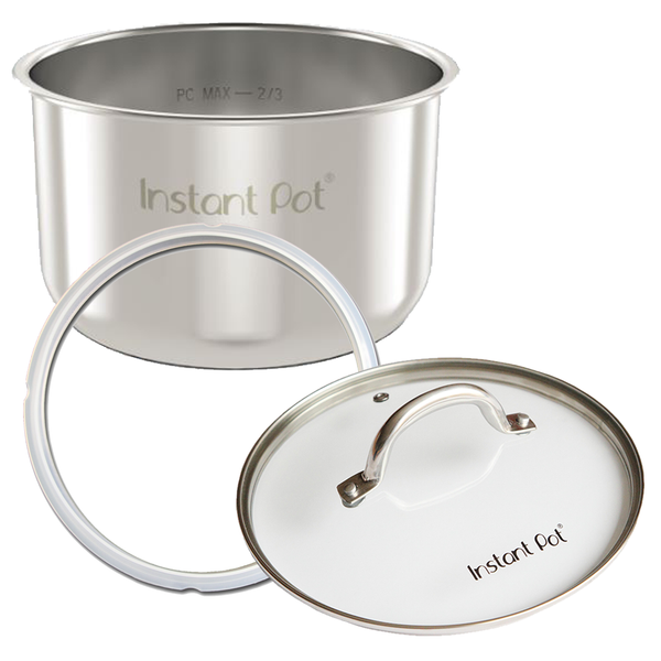 Instant Pot Accessory Pack, stainless steel pot, glass lid and sealing ring 6 Quart