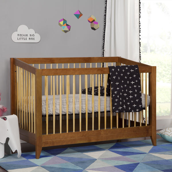 Babyletto Sprout Crib in Chestnut and Natural finish, mid-century modern crib with Tuxedo monochrome bedding set