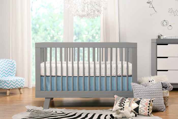 Babyletto Hudson Crib in Grey with Alphabets Bedding Collection, Mid-Century Modern Nursery