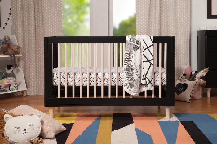 Babyletto Lolly Crib in Black and Washed Natural, modern monochrome mid-century nursery