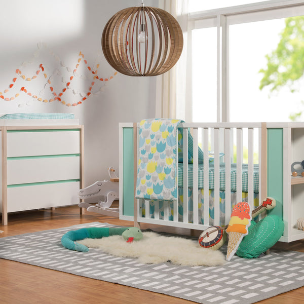 Babyletto Bingo Scandinavian Crib in White, Washed Natural, with pastel Cool Mint finish, Built in Bookcase and matching Changer Dresser