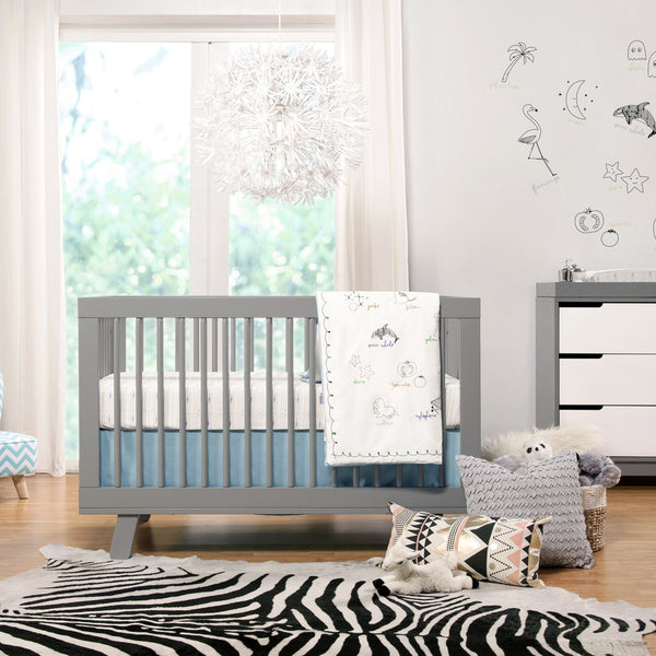 babyletto Hudson Crib and Changer Dresser in Grey and White