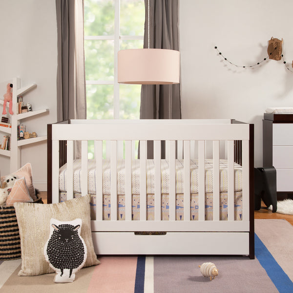 Babyletto Mercer Crib with Trundle Storage in Espresso and White