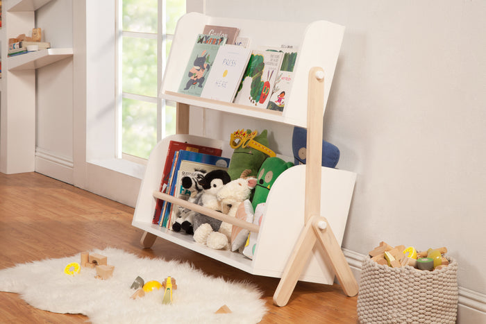 Babyletto Tally Bookcase, Modern Bookshelf in White and Washed Natural
