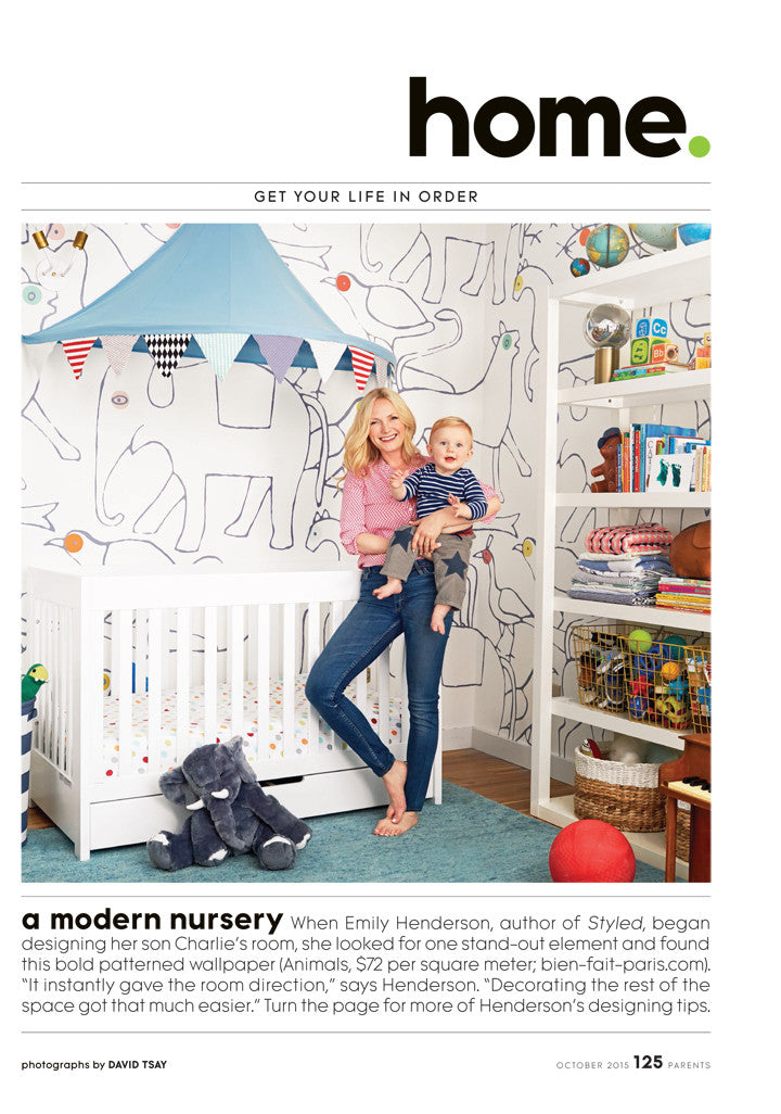 Parents Magazine 10-2015 babyletto Mercer Crib featured in Emily Henderson nursery