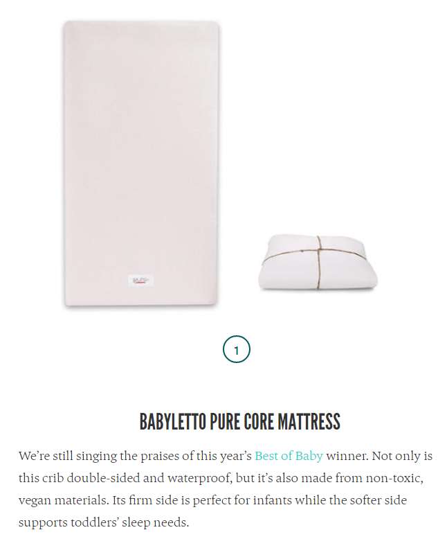 The Bump 6-1-2017 Best Baby Crib Mattress List babyletto PURE Core Mattress