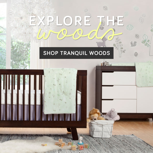 Explore the Woods Shop Babyletto Tranquil Woods Woodland Theme Nursery Bedding Collection Set