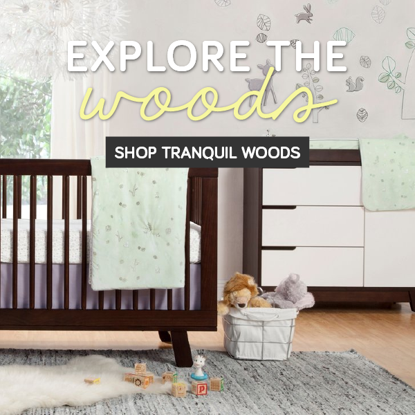 babyletto explore the woods tranquil woods bedding