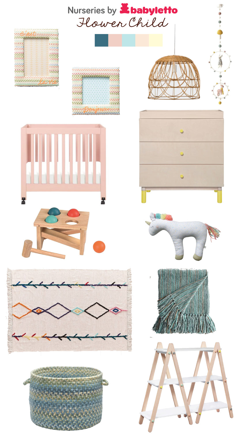 flower child nursery styleboard babyletto