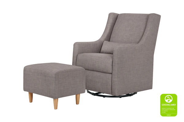Babyletto Toco Swivel Glider and Ottoman in Grey Tweed with Natural Feet