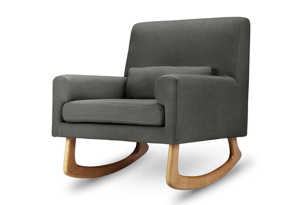 1085BBL,Sleepytime Rocker Pebble Tweed Fabric with Light Legs Charcoal Linen with Light Legs