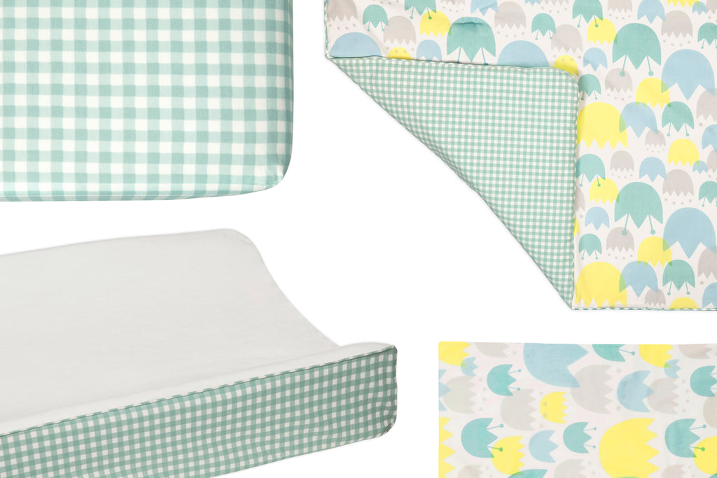 T11430,Tulip Garden 4-Piece Mini Crib Set Mini Crib Sheet  Pad Cover  Stroller Blanket  Deca