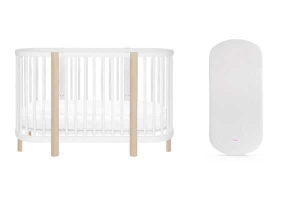 Hula Convertible Oval Crib Bundle with Oval Mattress White / Washed Natural