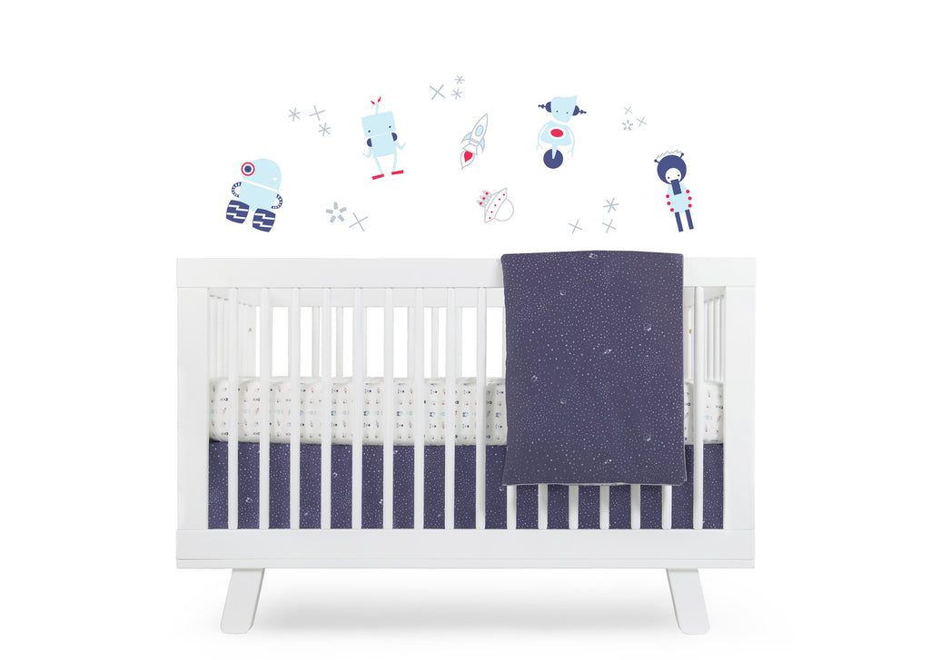 T8051A,Galaxy Crib Skirt (Stars) In Navy color