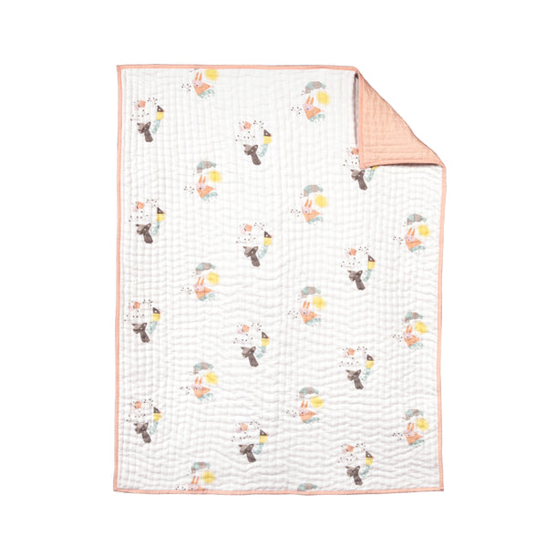 T18017,Menagerie Organic Cotton Hand-Quilted Blanket