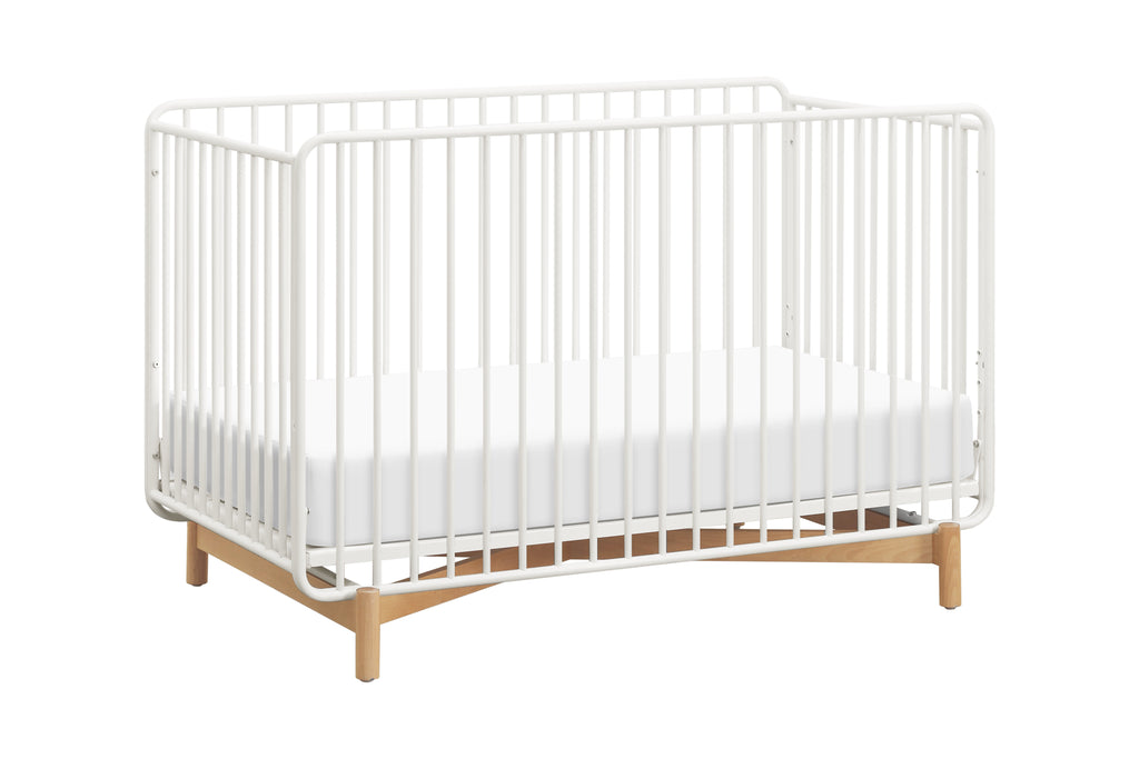 M15101RWB,Bixby Metal Crib with Toddler Bed Conversion Kit in Warm White/Natural Beech