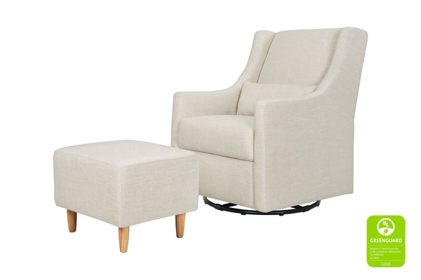 Babyletto Toco Swivel Glider and Ottoman in Grey Tweed with Natural Feet White Linen