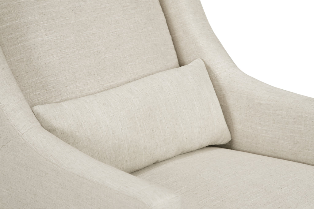 M11287LNWHT,Toco Swivel Glider and Ottoman in White Linen with Natural Feet