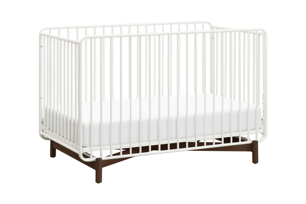 M15101RWL,Bixby Metal Crib with Toddler Bed Conversion Kit in Warm White/Walnut Stain