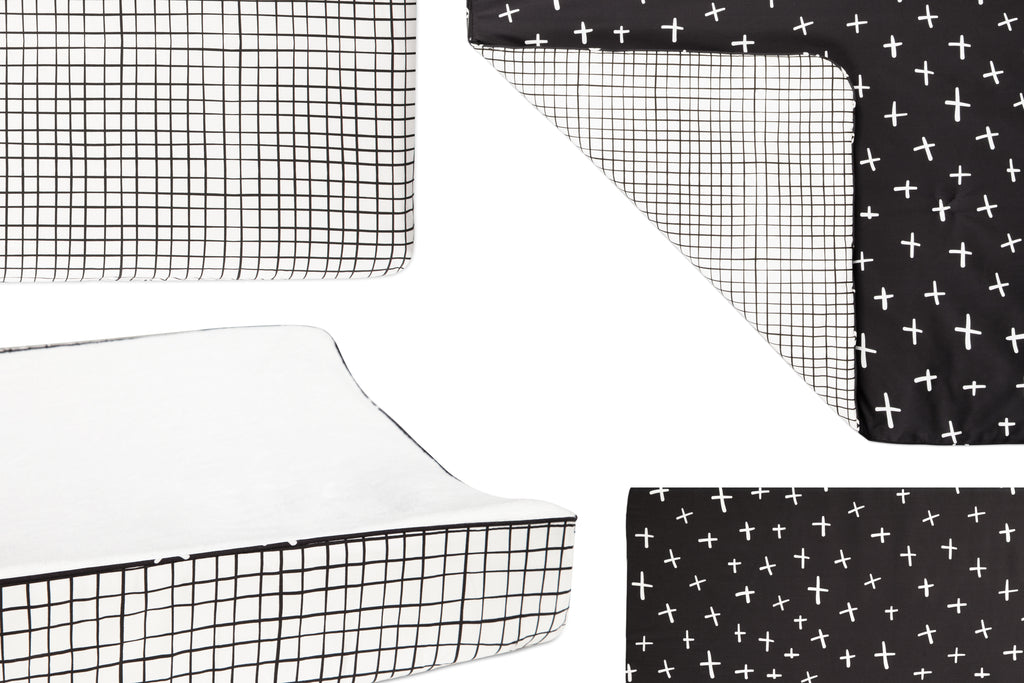 T11568,Tuxedo Grid Fitted Crib Sheet in Grid Print