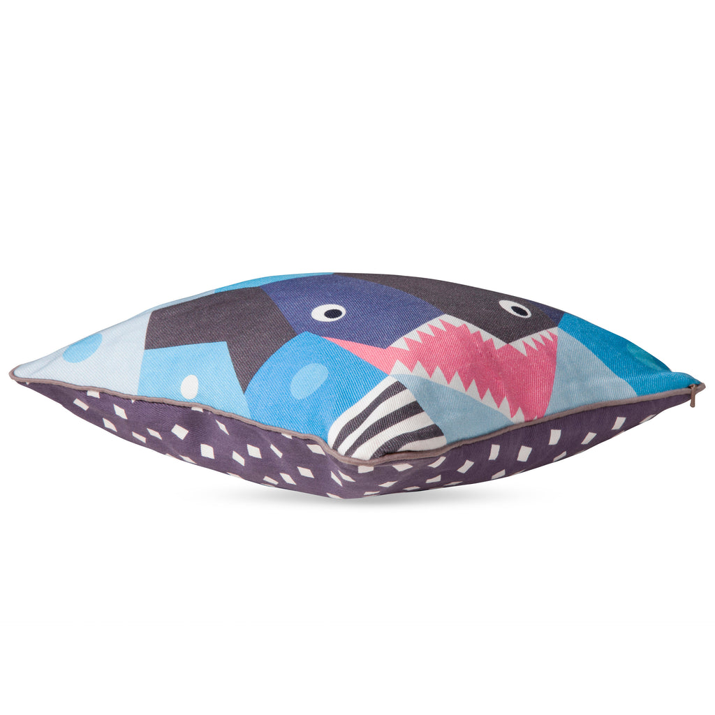 T19014,Oceanography Cubist Print Toddler Pillow Shark