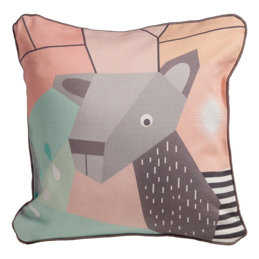 T18013,Menagerie Cubist Print Toddler Pillow Deer
