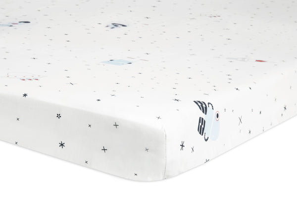 T9051,Galaxy Floating Robots Fitted Mini Crib Sheet
