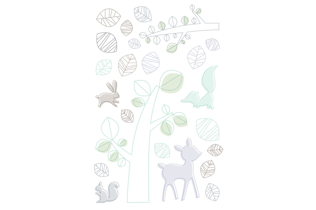 T8270,Tranquil Woods 5-Piece Set Sheet  Skirt  Play Blanket  Pad Cover & Wall Decal