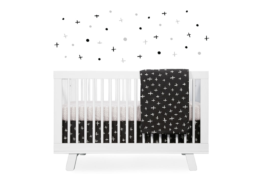 T11567,Tuxedo Dots Fitted Crib Sheet in Grey Dots Print