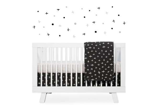 T11260,Tuxedo 5-Piece Nursery Bedding Set Sheet  Skirt  Play Blanket  Pad Cover &Wall Decals