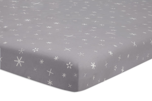 T9053,Galaxy Galactic Grey Stars Fitted Mini Crib Sheet