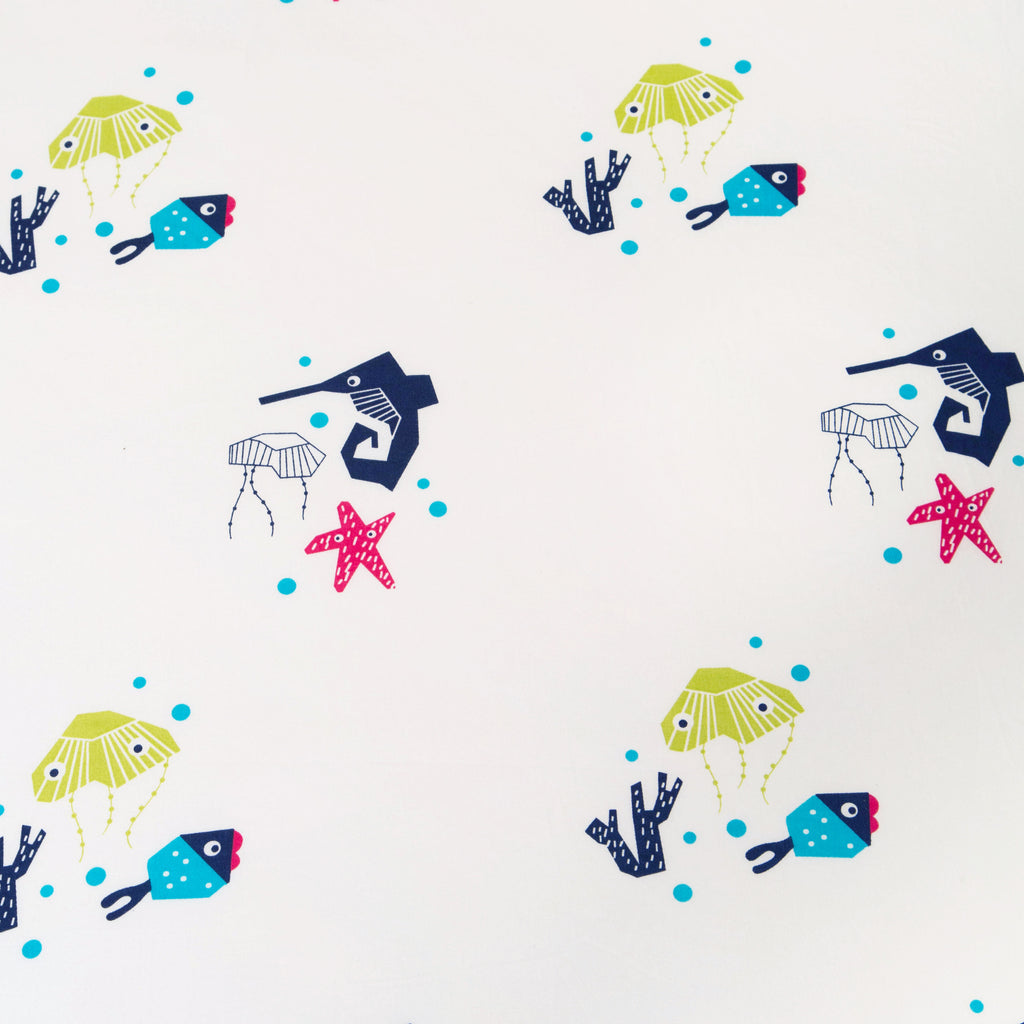 T19016,Oceanography Organic Cotton Percale Sheet Sea Animals