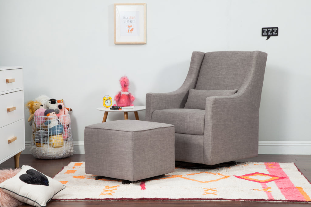 M12685FTGRY,Gliding Ottoman in Grey Tweed