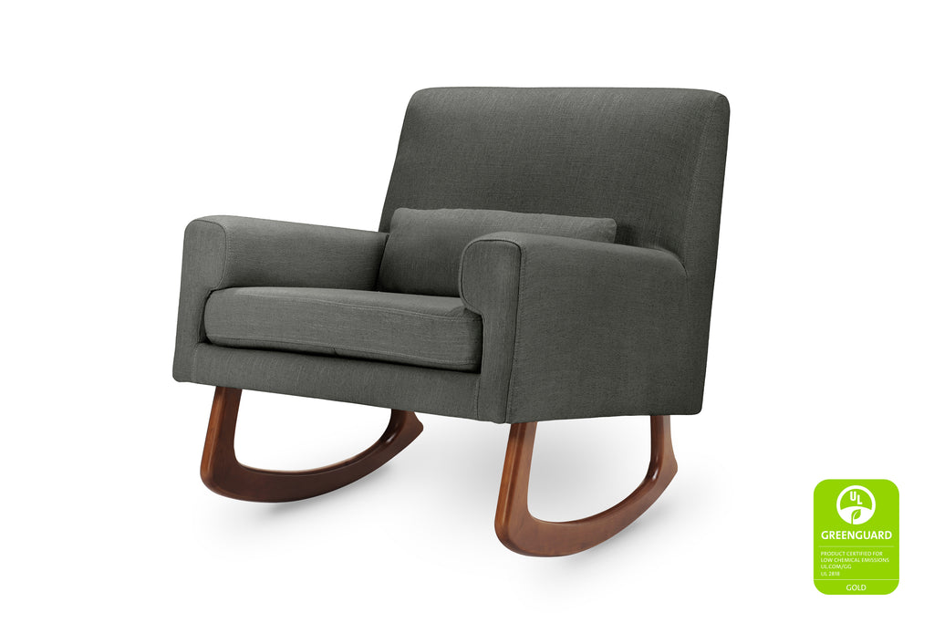 1085ROA,Sleepytime Rocker in Charcoal Linen Fabric with Walnut Legs
