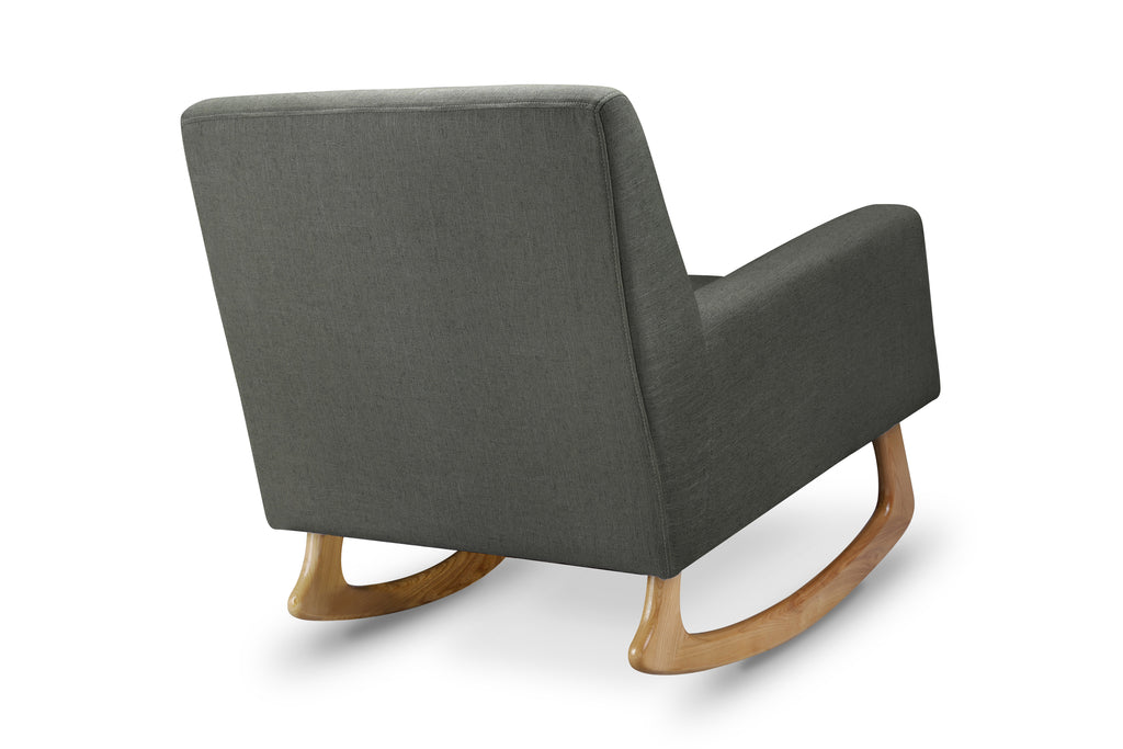 1085ROL,Sleepytime Rocker in Charcoal Linen Fabric with Light Legs