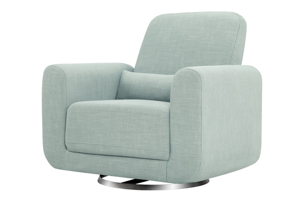 babyletto seating chair Tuba Glider In Winter Grey Weave Finish Seafoam