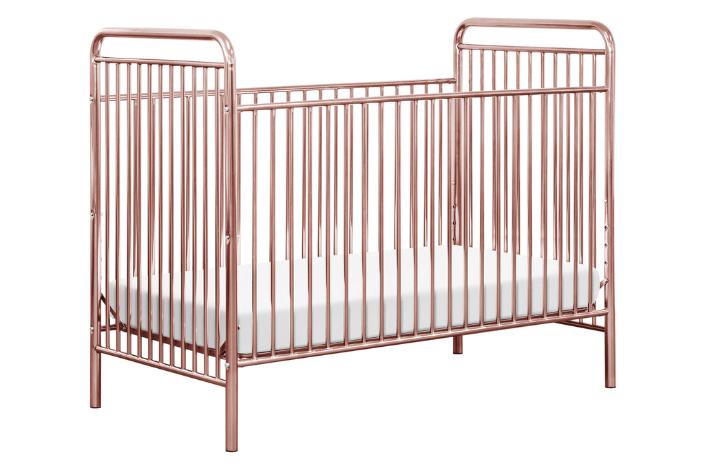 M15201PCRO,Jubilee 3-in-1 Convertible Metal Crib in Pink Chrome