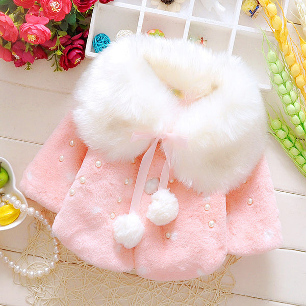 BABY GIRL FUR WINTER JACKET WITH POMPOMS